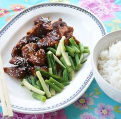 Hoisin chicken with green bean and cucumber salad/ myfoodpassion.net