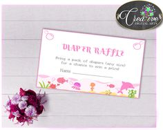 Baby shower DIAPER RAFFLE insert card printable for baby girl shower under the sea animals pink theme, Jpg Pdf, instant download - uts01 #babyshowergifts #babyshowerideas
