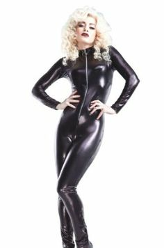 Black latex look cat suit. Meowwwwww! <3 <3 <3 ~   Disclaimer: This is an amazon.com affiliated link.