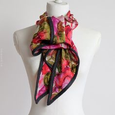 Floral silk scarf wrap camellia print with by CBanningAccessories