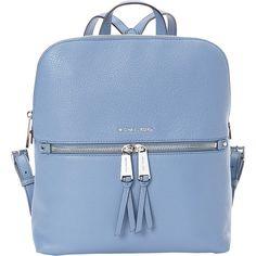 Michael Michael Kors Rhea Zip Medium Slim Backpack ($258) ❤ liked on Polyvore featuring bags, backpacks, blue, day pack backpack, zip bag, rucksack bags, zip close bags and zip top bag