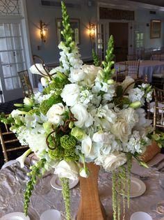 White & Green Wedding Centerpiece