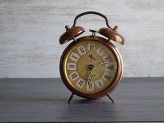 old alarm clock metal JAZ///color coppery and gilded///home decor///shabby chic///loft on Etsy, $44.50