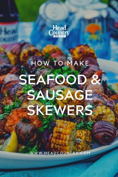 How to make seafood and sausage skewers Best Bbq Recipes, Healthy Grilling Recipes, Tailgating Recipes, Seafood Recipes, Grill Recipes, Sauce Recipes, Bbq Chicken Dip, Bbq Chicken Wings, Chicken Wing Recipes