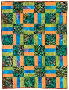 "First-Time Quiltmaking - ""Rail Fence Quilt"".  I like the solid blocks between the strip blocks"