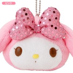 My Melody Face Shaped Pouch Plush Doll Mascot Chain Key Ring Ribbon Pink SANRIO JAPAN