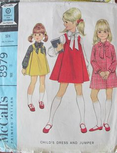 Vintage Girl's Dress Jumper Pattern 1967 McCall's 8979 Size 3 FreeShip Helen Lee | eBay