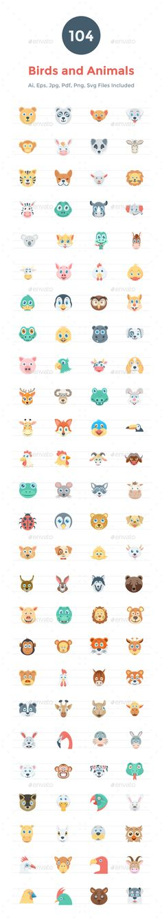 104 Flat Birds and Animals Icons — EPS Template • Only available here ➝…