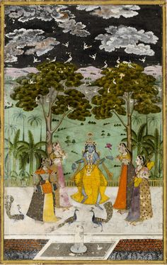 Krishna dancing in the rain. Illustration to the musical mode Megh Mallar Raga. The god is surrounded by four female musicians; in the foreground are peacocks and a fountain, in the background trees and hills. Trimmed. Deccan, India. Date mid 18th century.