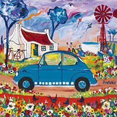 Small Prints A range of small sized images, printed in full colour by lithographic process. Art Transportation, African Paintings, Bicycle Painting, South African Artists, Diy Canvas Art, Rest, Naive Art, Whimsical Art, Teaching Art