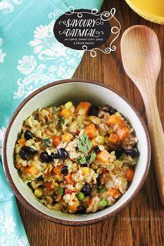 Savoury Oatmeal   Healthy + Vegan   www.veganlovlie.com #veganbreakfast #savouryoatmeal #oatmealrecipe