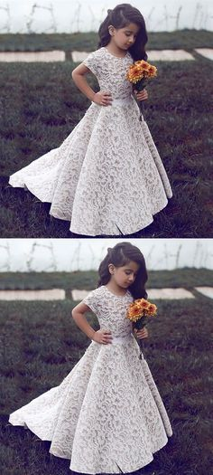 Flower Girl Dress: A-line, Round Neck, Short Sleeves, White, Lace, Cute, Princess, Long