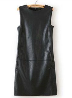 Black Round Neck Sleeveless PU Leather Dress US$30.66
