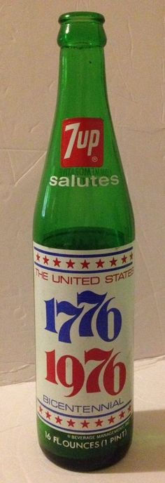 Vintage 7 Up Green Glass Commemorative Bicentennial Bottle 1776-1976 16oz  | eBay