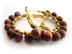 Beaded Hoop Earrings Gold Hoops Goldstone Beads by sparklingtwi, $22