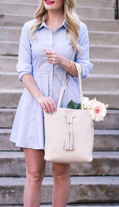 Blue Button Down Shirtdress by BCBG | Spring Outfit Ideas | Style Inspiration | Wedding Guest Look | Visions of Vogue | What to Wear For Spring | Warm Weather Fashion | Work Fashion | Office Style | Girlboss
