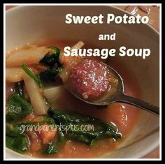 """January and """"soup"""" go together! On a chilly night nothing satisfies more than a hot bowl of soup and this Sweet Potato and Sausage Soup is a great recipe for a winter warm-up!"""