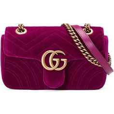 Gucci GG Marmont 2.0 Mini Quilted Velvet Crossbody Bag ($1,290) ❤ liked on Polyvore featuring bags, handbags, shoulder bags, dark fuchsia, crossbody purses, quilted crossbody purse, mini crossbody, quilted handbags and gucci handbags