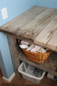 Laundry Table In Laundry Room Made From Recycled Wood With