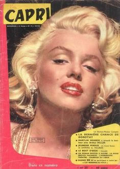 CAPRI magazine 1960. Front cover photo of Marilyn Monroe.~ Pinned by Nathalie Gobbe, during the period of 1960 to 1962.
