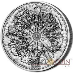 Cook Islands 12 GODS OF OLYMPUS Concave Shape Multiple Layer Minting 3D Effect 2016 Antique finish $50 Silver Coin 1 Kilo / 32.15 oz