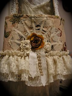 Carpet Bag Tote chic shabby ruffled lace by TatteredDelicates, $70.00