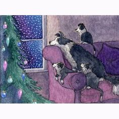 6 x Border Collie dog Christmas holiday cards by susanalisonart