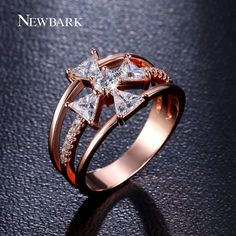Find More Rings Information about NEWBARK Elegant Cubic Zirconia Cross Ring Rose…