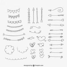 Hand gezeichnet Ornamente, Herzen und Pfeile Kostenlose Vektoren