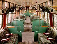 Interior of 1938 Tube carriage. #LondonUnderground
