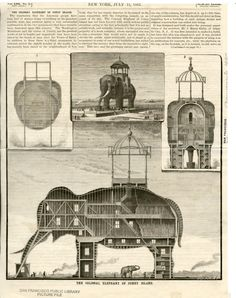 """The Colossal Elephant of Coney Island via Momondo  In 1884, the """"Colossal Elephant"""" was buildt in Coney Island, NY. The Coney Island elephant cost $250,000 to build and stood 125 feet high (7 stories) and had 31 hotel rooms. Her legs were 60 feet in circumference (one leg housed a cigar store, another had a diorama, and the 2 others had circular staircases). The elephant faced the sea and gave visitors to the observatory great ocean vistas through slits in the elephant's eyes. Y"""