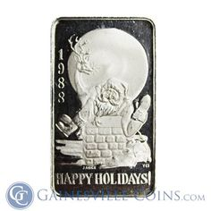 Great Deals On 1998 Happy Holidays Santa - 1 oz Silver Art Bar Pure At Gainesville Coins. Securely Buy Gold And Silver Online. Buy Gold And Silver, Days Until Christmas, Shopping Day, Silver Bars, Silver Rounds, 1 Oz, Happy Holidays, Holiday Gifts, Santa