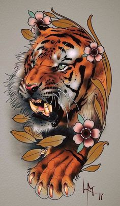 Original ideas of Japanese tattoo designs, wonderful ideas of colorful tattoos with Japanese motifs, tattoo tiger flowers old school frases hombres hombres brazo ideas impresionantes japoneses pequeños tattoo Japanese Tiger Tattoo, Japanese Tattoo Designs, Japanese Sleeve Tattoos, Tiger Tattoo Design, Sketch Tattoo Design, Tattoo Sketches, Bild Tattoos, Body Art Tattoos, Cool Tattoos