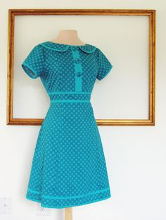 retro dress handmade clothing custom made with peter  collar in teal Polka dot - MARI style