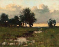 ARTHUR HOEBER (American, 1854-1915) Twilight Oil on canvas 10-1/2 x 13-5/8 inches (26.7 x 34.6 cm) Signed lower right: ARTHUR HOEBER