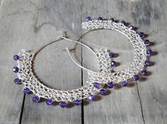 wire crochet sterling silver earrings amethyst beads