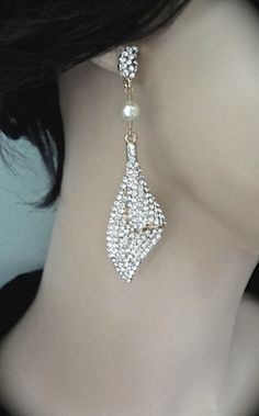 Long gold rhinestone and pearl earrings  by QueenMeJewelryLLC