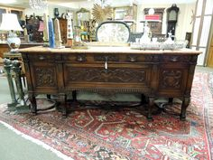 Marble topped American Walnut Sideboard | Olde Mobile Antique Gallery