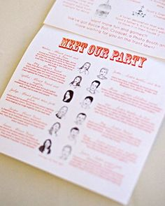 This couple designed a quirky booklet-style program with illustrated pictures of the wedding party.