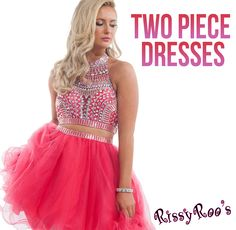 Two Piece Dresses are all the rage right now! Be the first of your friends to sport a sexy two piece short dress for homecoming or a trendy two piece dress for prom. - RissyRoos.com