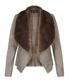 Mink (Brown) Grey Faux Fur Collar Leather-Look Waterfall Jacket | 279867823 | New Look