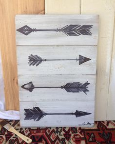 Four Black Arrows on Distressed White Paint by LEMELTODESIGN, $67.00