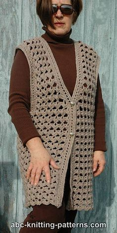 Ravelry: Scallop Shell Vest pattern by Elaine Phillips Crochet Waistcoat, Gilet Crochet, Crochet Coat, Crochet Cardigan Pattern, Crochet Tunic, Crochet Jacket, Crochet Clothes, Free Crochet, Crochet Vests