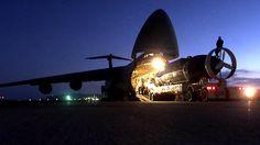 USAF Lockheed C-5 Galaxy strategic transport disgorges a DSRV-1.