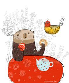 Bear drinking tea by Dinara Mirtalipova