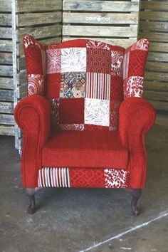 Wingback - Patchwork Design - Beetroot Inc. Wingback Chair, Armchair, Lounge Decor, How To Be Likeable, Patchwork Designs, Beetroot, Pallet Furniture, Hippie Style, Lush