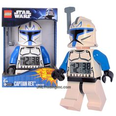 """Lego Year 2011 Star Wars Animated Series """"The Clone Wars"""" 8 Inch Tall Figure Alarm Clock Set# 9003936 - CAPTAIN REX with Removable Helmet's Antenna, Moving Arms and Legs Plus Backlight Display"""