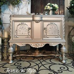 Revive In Style transformed a Jacobean style sideboard with a fabulously elegant look using the Modern Masters Metallic Paint Collection! Champagne and Silver bring a warm, soft glow with accented details in Snowflake.