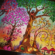 Twin Trees Double Page Find This Pin And More On Enchanted Forest Coloring