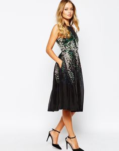 Whistles+Ren+Organza+Dress+with+Floral+Print